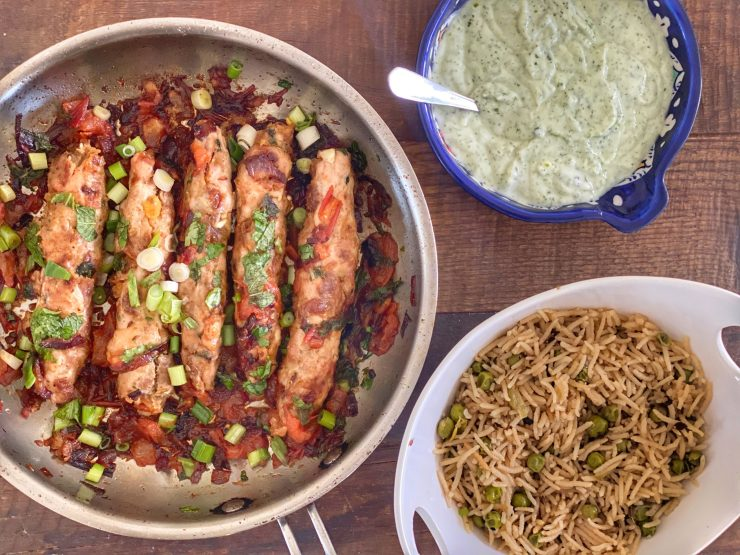turkey seekh kebab karahi