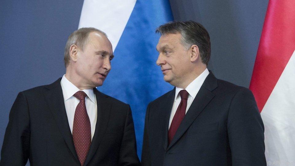 Президентите на Русия и на Унгария Владимир Путин и Виктор Орбан