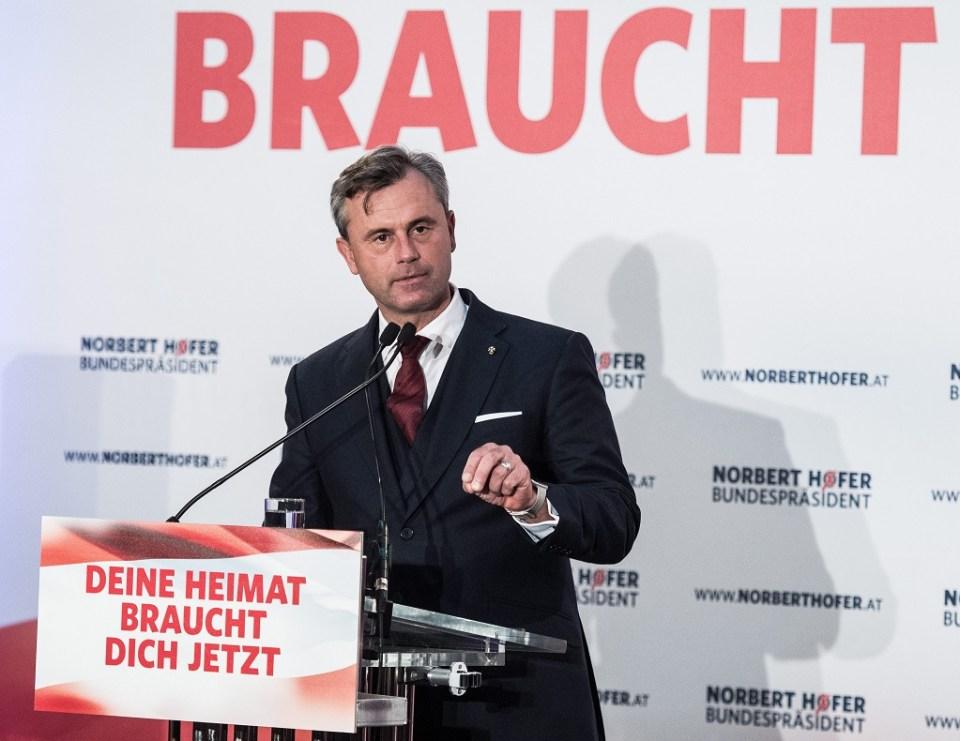 Крайнодесният кандидат за президент на Австрия Норберт Хофер. Снимка: ЕРА/БГНЕС