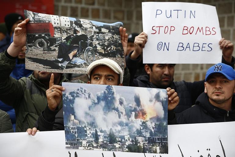 Протест на мюсюлмани срещу насилието в Алепо