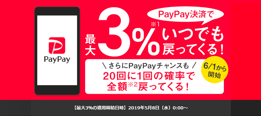 PayPay決済のポイント還元率が0.5%からいつでも3%以上に!