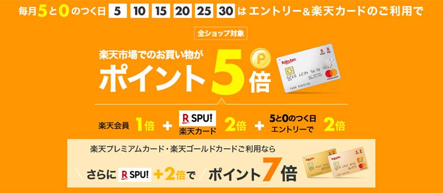 楽天市場では「0」と「5」のつく日は楽天カードの利用でポイント5倍に!楽天プレミアムカードとゴールドカードは7倍!
