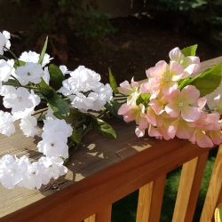Small pink and white artificial flowers