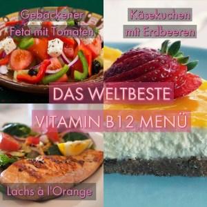 Vitamin B12 Menü Lachs, Feta, Käsekuchen mit Erdbeeren