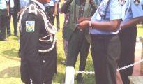 FESTAC Police Boss, ACP Dan Okoro (l) receiving 24 gold karat award from Inspector General of Police (IGP) Mr Mohammed Abubakar