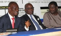 From left, Secretary to Delta State Government, Comrade Ovuozourie Macaulay, Governor Emmanuel Uduaghan of Delta State and  President, Nigeria Guild of Editors, Mr. Femi Adesina during the 2014 Delta NUJ Press Week held in Asaba, Tuesday.
