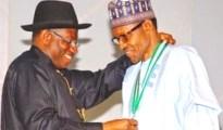 President Goodluck Jonathan (L) and Gen Mohammadu Buhari (R)