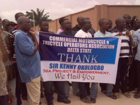 Association of Commercial Motorcycles and Tricycle Association thanking Sir Kenny Okolugbo