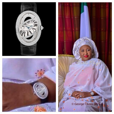 Mrs Aisha Buhari and her N10M wrist watch