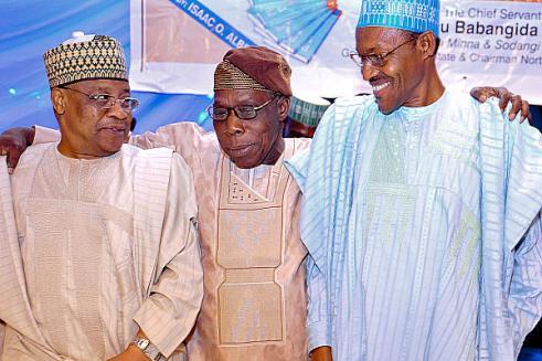 (l-r) Ibrahim Babangida,Olusegun Obsanjo and Muhammadu Buhari