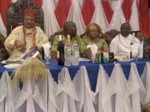 "Olorogun (Barr) Fred Majemite (R) on the high table with Ughelli Monarch HRM (Dr) Ojakovo Wilson Oharisi III  (Left) on the occasion of Ughelli Kingdom indigenes appointed and elected into government offices and the launch of the maiden news magazine :Udu News"" recently...."