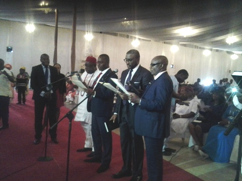 Olorogun David Edevbie (Second from right) during the swearing in ceremony