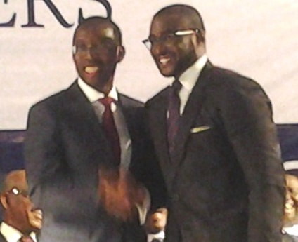 Delta State Governor Dr Ifeanyi Okowa congratulating Olorogun David Edevbie after appointing him as Commissioner of Finance