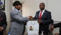 L-R: Special Adviser to the President/Coordinator of the Presidential Amnesty Programme, Brig-Gen. Paul T Boroh, (rtd) receiving survenir from Vice Chancellor of Benson Idahosa University, Prof. Ernest Izevbigie