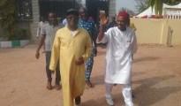 Ebonyi State Governor, Engr. David Umahi.(left) receiving Minister of Science and Technology, Dr. Ogbonnaya Onu at his residence in Uburu, Ohaozara LGA on Friday.