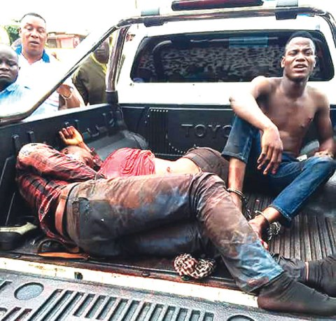 Two of the dead motorcycle robbers and the arrested colleague