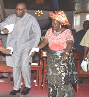 Bayelsa State Governor, Sseriake Dickson celebrating with his wife....File Pics