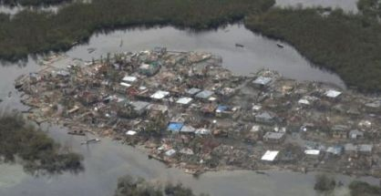 An aerial view of the devastation in the village of Corail