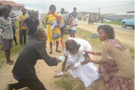 The bridegroom and a lady friend appealing to her to return to the wedding venue