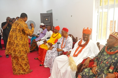 Publisher of Urhobo Voice newspaper, Chief Imene greeting cross section of traditional rulers present