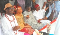 R-L- Chief Ayiri Emami, Delta State Gov Ifeanyi Okowa, Chief James Ibori and his wife and Chairman of the occasion, Chief Johnson M Barovbe