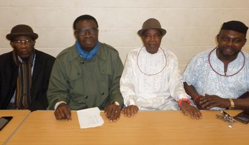 L-R- Chief Odeta,Chief Johnson Barovbe, Chief George Ikirigbe and Chief Angus Omesoro President of Urhobo Unity In UK