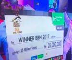 Winner of Big Brother Niaj, Efe Ejeba with the N25m money prize