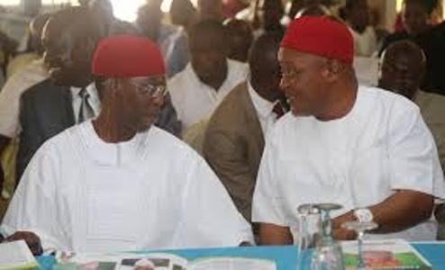 L-R: Delta Governor, Senator Ifeanyi Okowa and Speaker Delta State House of Assembly, Hon Monday Igbuya