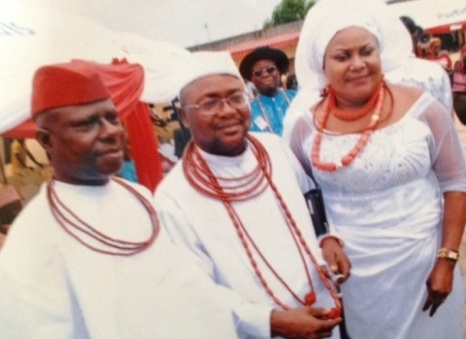 Multiple Chief Emmanuel Okpako Ganiga, Ughegbe R'Ovie  of Ughelli Kingdom, his wife, Double Chief (Mrs.) Helen Linda Ganiga, Uriri R'Ovie of Ughelli Kingdom and Chief Vincent Atumah, Ex- Vice chairman, Ethiope West LGA