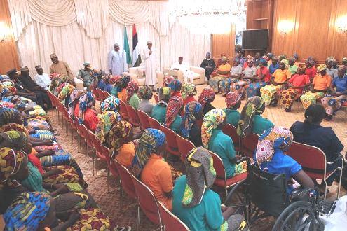 President Muhammadu Buhari addressing the released 82 Chibok school girls