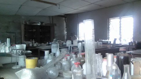 Dilapidated laboratry science classroom of the scholl