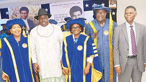 Co-founder, Michael and Cecilia Ibru University, Cecilia Ibru (left): former Delta State Governor, James Ibori: Vice Chancellor of the university, Prof. Ibiyinka Afuwape; Guest Speaker, former Ghanaian Minister of Information, Fritz Baffour and former president, Nigerian Stock Exchange (NSE), Goodie Ibru, during the first yearly memorial lecture of Olorogun Michael C.O. Ibru in Agbarha-Otor, Delta State… yesterday. Courtesy Guardian Newsapaper