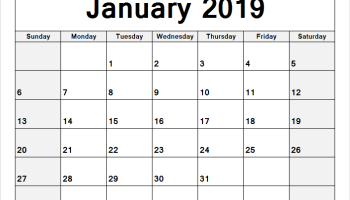 2019 Calendar Template Pdf Excel Word Download