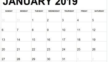 Free January 2019 Calendar Printable Templates