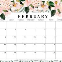 Cute February 2020 Calendar Printable HD Wallpaper Floral Design