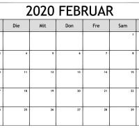 Kalender Februar 2020 in PDF, Word, Excel Druckbare Vorlage