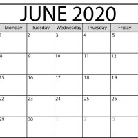 June 2020 Printable Calendar in PDF Word Excel With Holidays