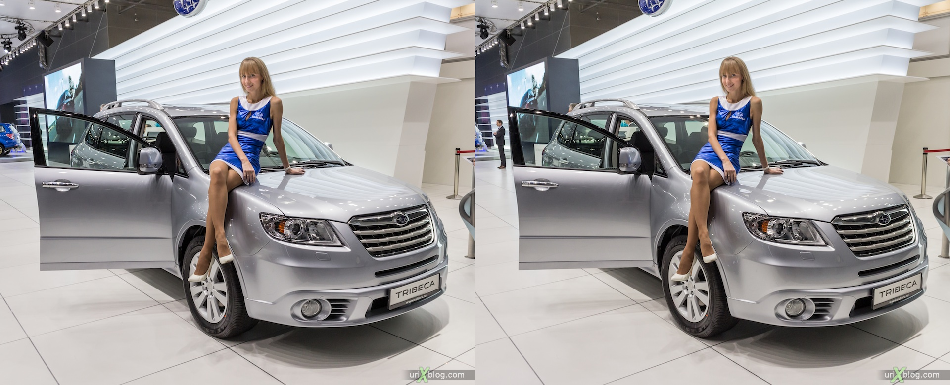 2012, Subaru Tribeca, девушка, модель, girl, model, Moscow International Automobile Salon, auto show, 3D, stereo pair, cross-eyed, crossview