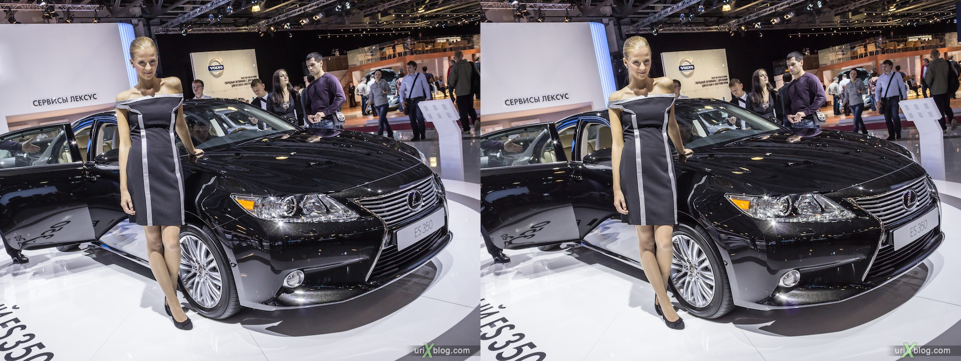 2012, Lexus ES 350, девушка, модель, girl, model, Moscow International Automobile Salon, auto show, 3D, stereo pair, cross-eyed, crossview