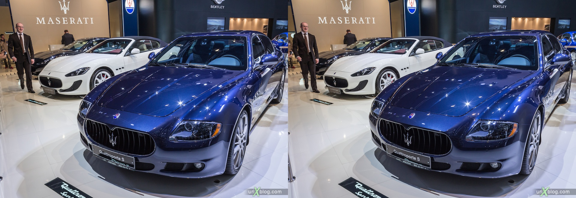 2012, Maserati Quattroporte S, Moscow International Automobile Salon, auto show, 3D, stereo pair, cross-eyed, crossview