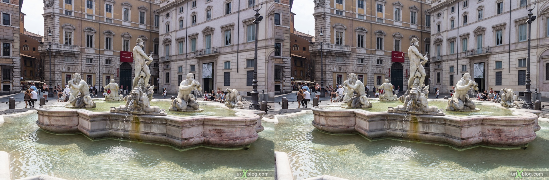 2012, the Moor fountain, Piazza Navona, Rome, Italy, 3D, stereo pair, cross-eyed, crossview, cross view stereo pair