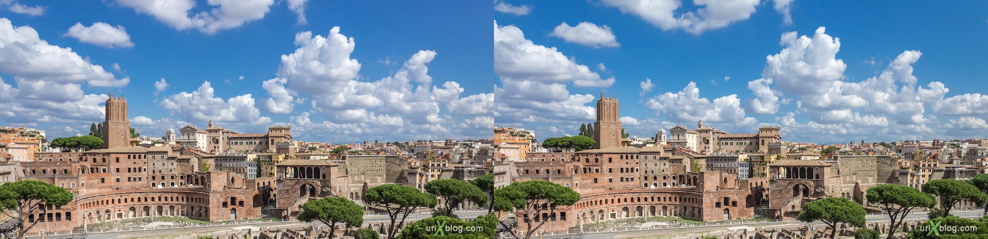 2012, форум Траяна, Roman Forum, Palatine Hill, Rome, Italy, ancient rome, city, 3D, stereo pair, cross-eyed, crossview, cross view stereo pair