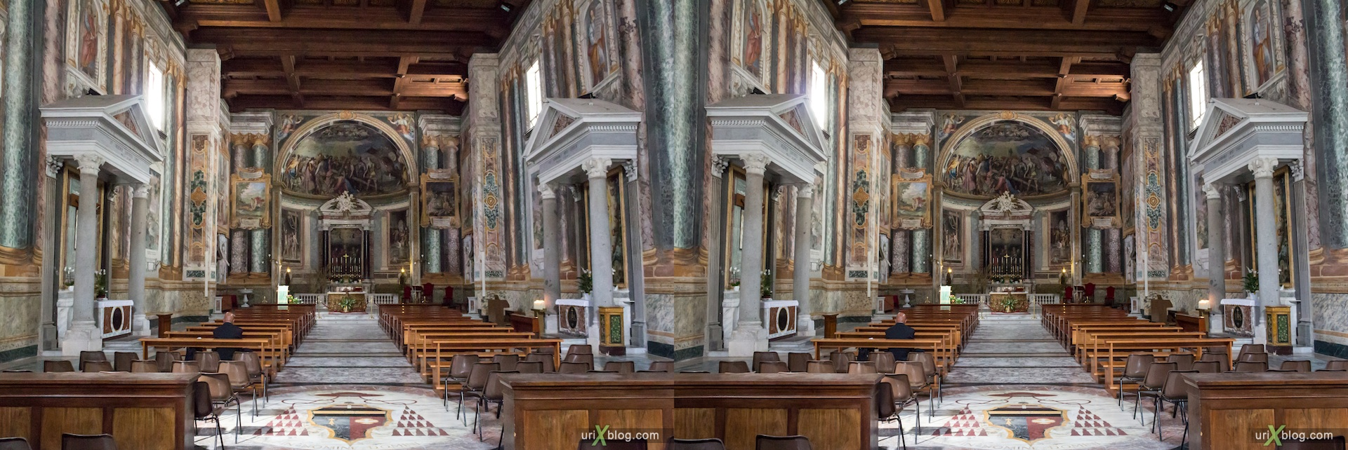 2012, church of San Vitale, Rome, Italy, cathedral, monastery, Christianity, Catholicism, 3D, stereo pair, cross-eyed, crossview, cross view stereo pair
