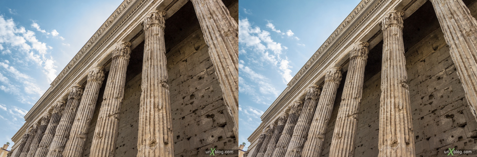 2012, di Pietra square, Rome, Italy, 3D, stereo pair, cross-eyed, crossview, cross view stereo pair