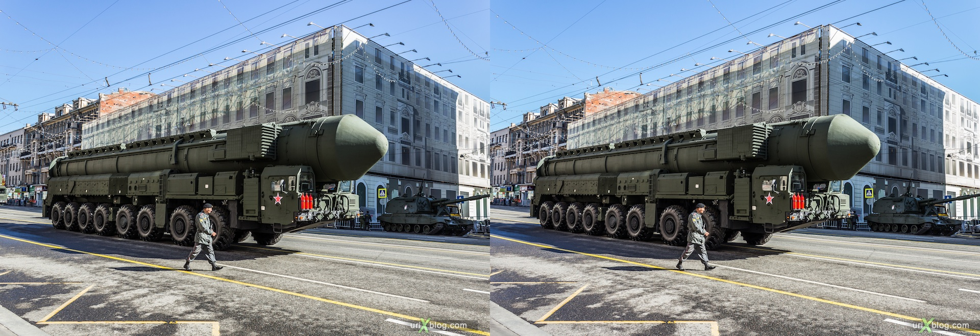 2013, Russia, Moscow, 9 may, parade training, Tverskaya street, preparations, military vehicles, tanks, soldiers, armored troop-carrier, 3D, stereo pair, cross-eyed, crossview, cross view stereo pair, stereoscopic