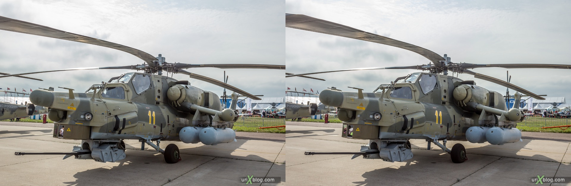 2013, MAKS, International Aviation and Space Salon, Russia, Ramenskoye airfield, Mi-28N, helicopter, 3D, stereo pair, cross-eyed, crossview, cross view stereo pair, stereoscopic