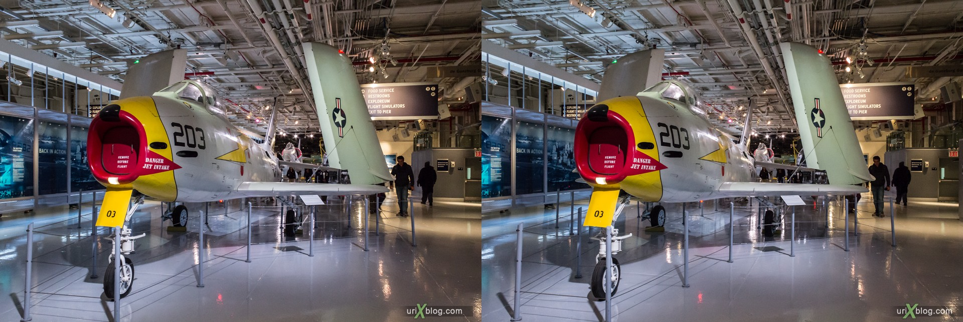 2013, USA, NYC, New York, aircraft carrier Intrepid museum, FJ-3 Fury, sea, air, space, ship, submarine, aircraft, airplane, helicopter, military, 3D, stereo pair, cross-eyed, crossview, cross view stereo pair, stereoscopic
