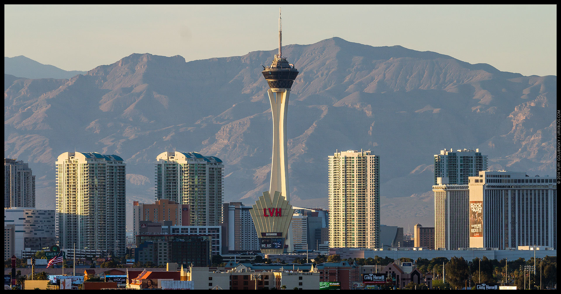 Stratosphere tower, casino, hotel, mountains, 2014, LAS, Las Vegas McCarran International airport, strip, LV, Clark County, USA, Nevada, panorama, horizon, city