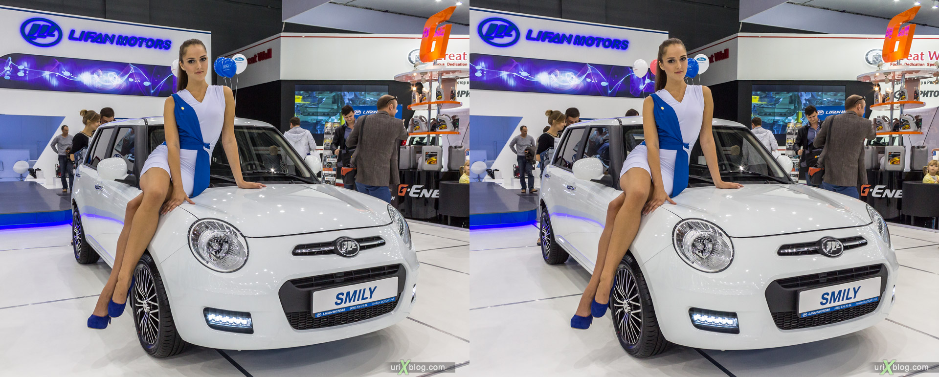 2014, Lifan motors Smily, Moscow International Automobile Salon, MIAS, Crocus Expo, Moscow, Russia, augest, 3D, stereo pair, cross-eyed, crossview, cross view stereo pair, stereoscopic