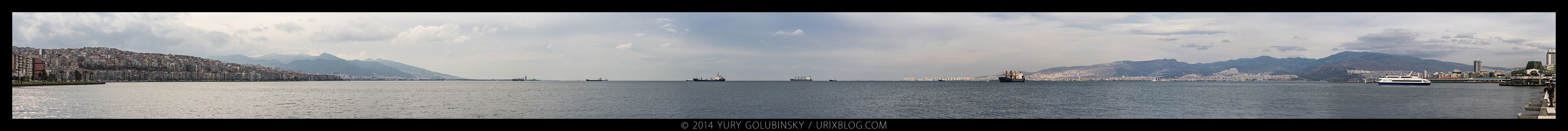 2014, Izmir, bay, Turkey, panorama, horizon, Aegean sea, seafront, embankment, ships